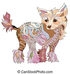 Zentangle stylized dog. Hand drawn decorative vector illustration