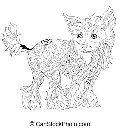 Zentangle stylized dog. Hand Drawn lace vector illustration