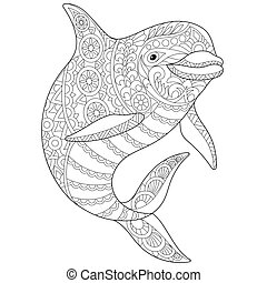 Zentangle stylized dolphin - Coloring page of underwater...