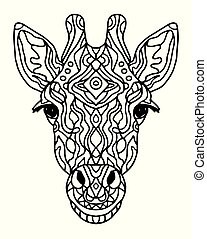 Zentangle stylized doodle vector giraffe head. Zen art style. animal ethnic tribal african print suits as tattoo, logo template, decoration, coloring book sketch, Collection of animals.