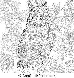 Zentangle stylized eagle owl