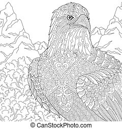 Zentangle stylized eagle - Zentangle stylized cartoon eagle...