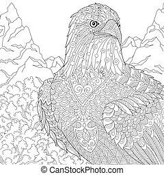 Zentangle stylized eagle