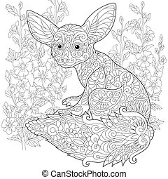 Zentangle stylized fennec fox - Coloring page of fennec fox...
