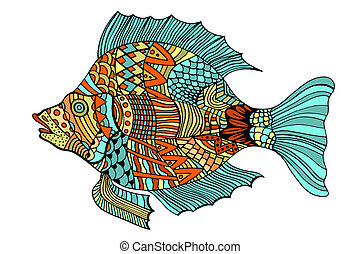Zentangle stylized Fish. Hand Drawn doodle Art illustration...