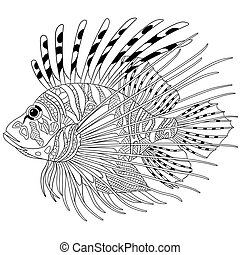 Zentangle stylized cartoon fish, isolated on white background. Sketch for adult antistress coloring page. Hand drawn doodle, zentangle elements for coloring book.