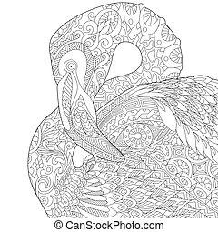 Zentangle stylized flamingo - Coloring page of flamingo...