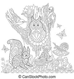 Zentangle stylized forest landscape - Coloring page of...