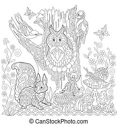 Zentangle Stylized Forest Landscape Coloring Page