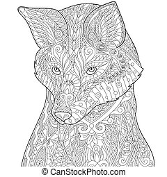 Coloring page of fox, isolated on white background. Freehand sketch drawing for adult antistress coloring book in zentangle style.