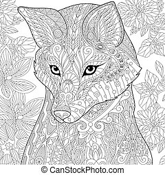 Zentangle stylized fox - Coloring page of wild fox and...
