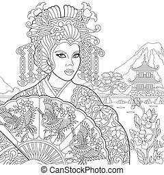 Zentangle stylized geisha woman
