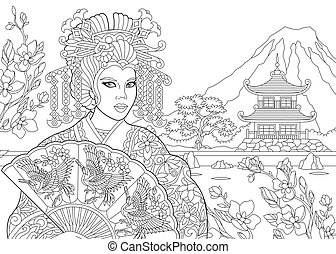 Zentangle stylized geisha woman - Coloring page of geisha...