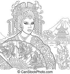 Zentangle stylized geisha woman - Coloring page of geisha...