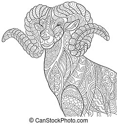 8a099132c Zentangle stylized goat. Coloring page of goat (ram, ibex). freehand ...