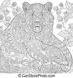 Coloring page of grizzly bear. Freehand sketch drawing for adult antistress coloring book in zentangle style.