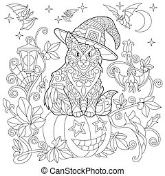 Zentangle stylized halloween cat - Halloween coloring page...