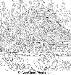 Zentangle stylized hippopotamus hippo