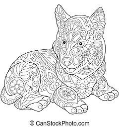 Zentangle stylized husky - Coloring page of husky puppy dog....