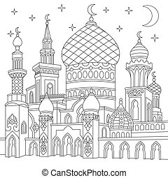 Zentangle stylized islamic mosque - Coloring page of turkish...