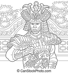 Zentangle stylized japanese samurai - Coloring page of...