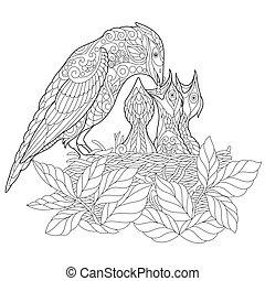 Zentangle stylized jay bird - Coloring page of jay bird...