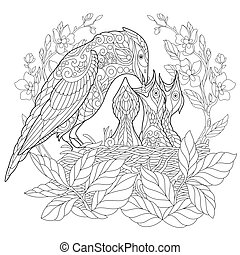 Coloring page of bird feeding its newborn nestlings. Freehand sketch drawing for adult antistress coloring book in zentangle style.