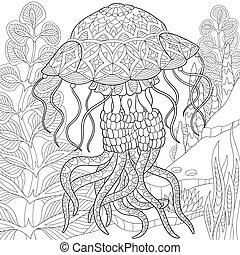 Zentangle Stylized Jellyfish Coloring Page Of Swimming Among Seaweed Alga Freehand Sketch