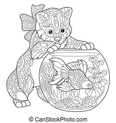 Zentangle stylized kitten and goldfish - Coloring page of...