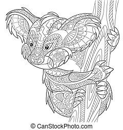Zentangle stylized koala bear - Zentangle stylized cartoon...