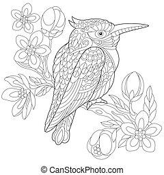 Zentangle stylized kookaburra bird - Coloring page of...