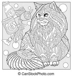 Zentangle stylized cartoon maine coon with cat food. Hand drawn sketch for adult antistress coloring page, T-shirt emblem, logo or tattoo with doodle, zentangle, floral design elements.