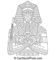 Zentangle stylized pharaoh - Coloring page of ancient...