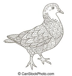 Zentangle stylized pigeon for coloring page