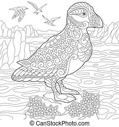 Zentangle Stylized Puffin Bird Coloring Page