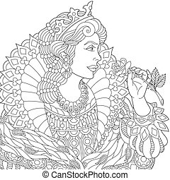 Zentangle stylized queen - Coloring page of queen (princess)...