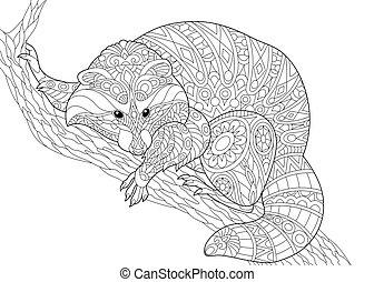 Zentangle stylized raccoon