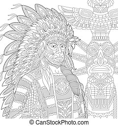 Coloring Page Of Native American Indian Chief Redskin Man Freehand Sketch Drawing For Adult Antistress Colouring Book With Canstock