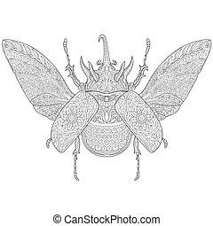 Zentangle stylized rhinoceros beetle