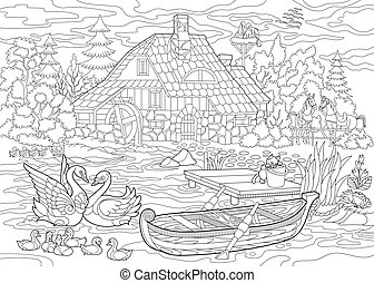 Zentangle Stylized Countryside Scene Coloring Page Of