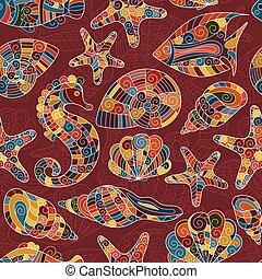 Zentangle stylized sea seamless pattern.