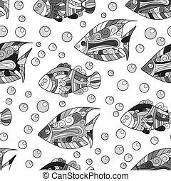 Zentangle stylized sea shell seamless pattern. Hand Drawn aquatic doodle vector illustration. Ocean life. Shells, starfish, fish, horse. Bright hot colors on vinous background.