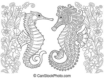 Zentangle stylized seahorse and flowers - Coloring page of...