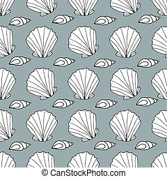 Zentangle stylized seashell and other sea inhabitants seamless pattern. Hand drawn aquatic doodle vector illustration
