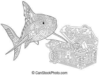 Zentangle stylized shark