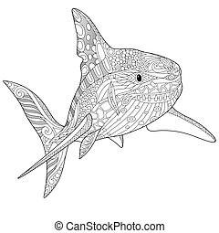 Zentangle Stylized Shark Coloring Page Of Underwater
