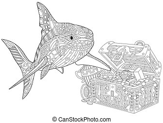 Zentangle stylized shark