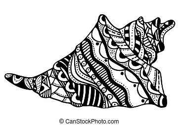 Zentangle stylized shell. Hand Drawn aquatic doodle vector...