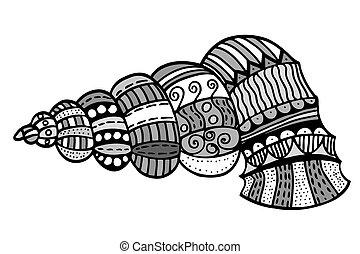 Zentangle stylized shell.