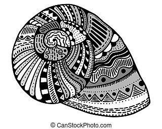 Zentangle stylized shell. Hand Drawn aquatic doodle...